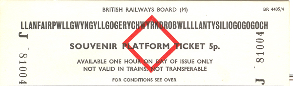Platform ticket for the station with the longest name in Britain