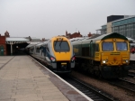 222003 and 66615 at Nottingham (22/3/08)